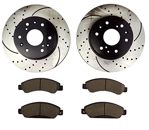 Atmansta QPD10052 Front Brake kit with Drilled/Slotted Rotors and Ceramic Brake pads for Cadillac Escalade Chevrolet GMC