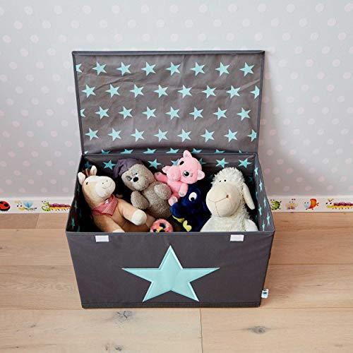 STORE IT - Spielzeugtruhe für Kinder - Truhe mit Deckel - Große Aufbewahrungsbox, Spielzeugkiste für das Kinderzimmer - 62x37,5x39cm - grau/ mintgrün - STERN - 4