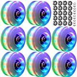 NICODASHEN Roller Skate Wheels Luminous Light Up, 8 Pack with Bearings - Roller Skate Wheels for Double Row Skating and Skateboard 32mm x 58mm (Wheels White)