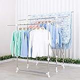 Todeco perchero para ropa, perchero, perchero expandible simple, perchero duradero, perchero portátil, perchero para ropa blanca, Material: Acero inoxidable y plástico ABS