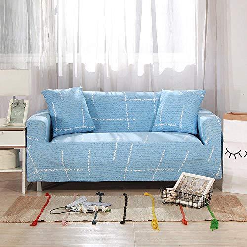 Funda de sofá de 4 Plazas Funda Elástica para Sofá Poliéster Suave Sofá Funda sofá Antideslizante Protector Cubierta de Muebles Elástica Líneas Azules Funda de sofá