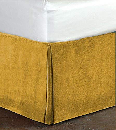 Queen Size Gold Color Luxurious Velvet Bedskirt Soft and Easy Care 30 Inch Drop Length(60'x80')