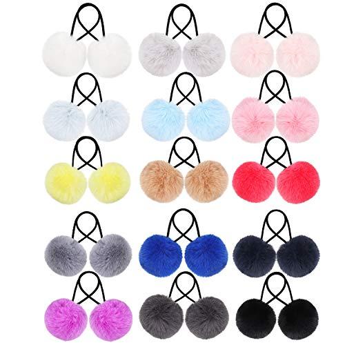 Pom Haargummis Pompon Ball Elastisches Haarband Fell Knäuel Flauschige Pferde schwanz Halter für Frauen Mädchen Kinder Haarschmuck (Farbset 3, 30 Stück)