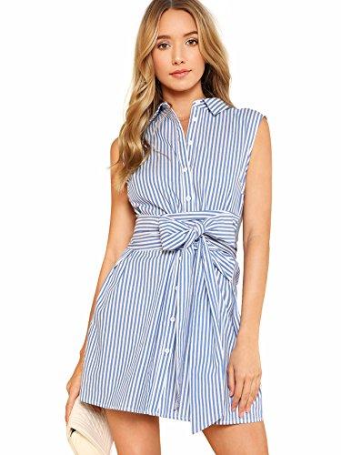 Romwe Women's Cute Sleeveless Striped Belted Button Up Summer Short Shirt Dress Blue M