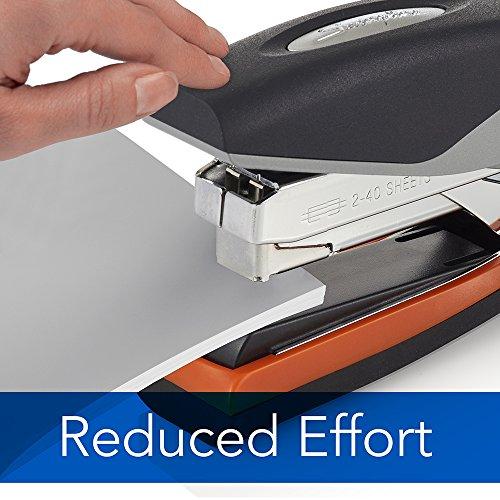 Swingline Stapler, Optima 40, Full Strip, Desktop Stapler, 40 Sheet Capacity, Reduced Effort Stapler for Office Desk Accessories and Home Office Supplies, Orange/Silver/Black, Full Size (87845) Photo #2