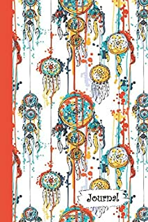 Journal: Red Yellow Blue Splattered Dream Catcher Diary with Blank Lined Notebook Paper
