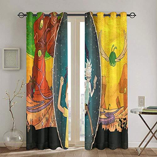 Cortinas opacas para salón y dormitorio Rick and Morty con ojales sólidos para ventanas de 160 x 182 cm