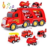 HINZER Fire Carrier Truck Transport Car Play Vehicles Toys for 3 Year Old Boys and Girls- 5 in 1 Friction Power Push and Go Play Vehicles