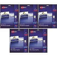 two-side印刷可能ビジネスカード、インクジェット、2x 3–1/ 2、ホワイト、マット、250/パック、合計5pk , Sold as 1カートン