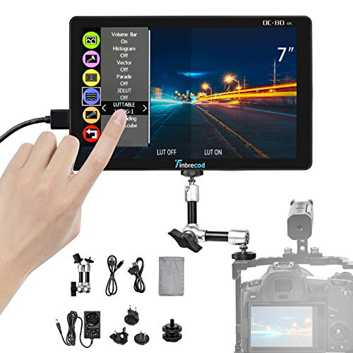 7 inch Touch Screen Camera Video Monitor, 3D Lut Built-in 3500mAh Rechargeable Battery Ultra HD 1920 x 1200 IPS 4K Pass-Through HDMI DC Input Output DSLR Camcorder Camera Field Monitor with Tilt Arm