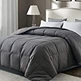 WhatsBedding Gray 100% Cotton Goose Duck Feather Down Comforter- Lightweight Duvet Insert with Corner Tabs - Box Stitched Stand-Alone Comforter - Queen 88x88