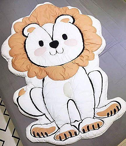 Compra calidad 100% autentica LBB-tech LBB-tech LBB-tech Alfombrilla de juego con forma de león, alfombrilla para bebé, alfombrilla para gatear, 100% algodón, Color blanco, idea de regalo para recién nacido  barato