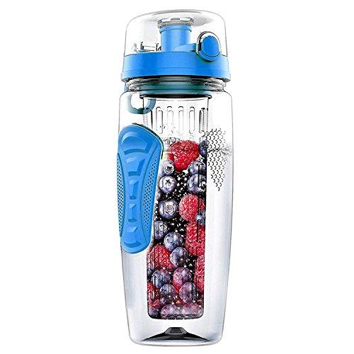 cherrypop 1000ml/32oz Frutas Infusor Botella de Agua Deportes Plástico Detox Salud Azul
