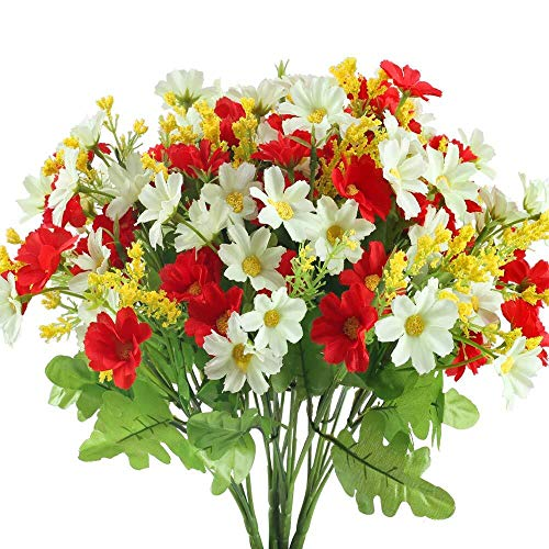 HUAESIN 4pcs Kunstblumen Deko 28 Köpfe Chrysantheme Seideblumen Blumenstrauß Künstliche Blumen Plastikblumen für Draußen Balkon Garten Winter Frühling Tischdeko Dekoration Weiss Rot