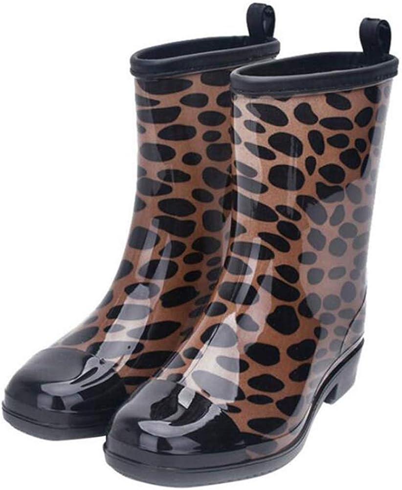 COVOYYAR Women's Mid-Calf Rain Boots Printed Waterproof Rubber Shoes