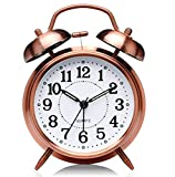 Skadioo Golden Metal Alarm Clock   Brass Vintage Twin Bell Table Top Alarm Clock with Night LED Light Display Alarm Clock for Bedroom Heavy Sleepers Kids and Students (Silver White, Small)