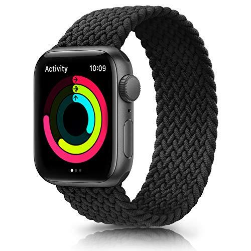 Meliya Cinturino Intrecciato Compatible con Apple Watch 38mm 40mm 42mm 44mm, Sportiva Nylon Ricambio Elastica Cinturino Compatible per iWatch Series 6/5/4/3/2/1/SE (42/44mm M, Nero)