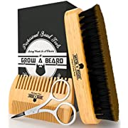 Beard Brush & Comb Set for Men Care - Gift Box & Friendly Bag - Best Bamboo Grooming Kit Great to Distributes Balm or Oil for Growth & Styling - Adds Shine & Softness