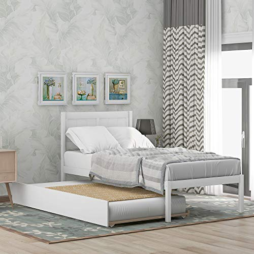 P PURLOVE Twin Size Platform Bed with Trundle Bed Wood Bed Frame with Headboard, No Box Spring Needed, White