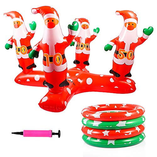 Picowe Ring Toss Game Toys Inflatable Santa Claus Ring Toss Game Perfect for Christmas Party Xmas Holiday Celebration Carnival Party Event Decoration Outdoor Indoor Family Christmas Party (Red)