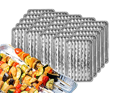 Nipter Alu-Grillpfanne 34,5x22,5cm Grillschalen BBQ Grillplatte Aluminium-Grillschalen 25 Packungen (125 Stück)