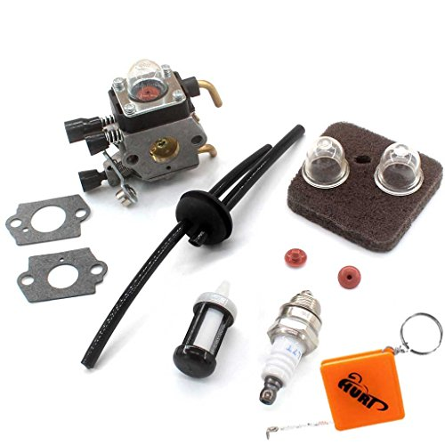 HURI Vergaser + Luftfilter + Benzinschlauch filter + Zündkerze passend für Stihl FS38 FS45 FS46 C FS55 FS55C FS55R FS55T KM55R C1Q-S153 C1Q-S71 C1Q-S186 A B Rasentrimmer