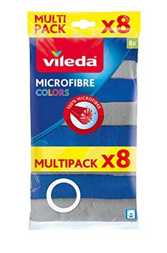 Vileda Microfaser Allzwecktuch Colors XXL , grau/blau, 8er Multipack