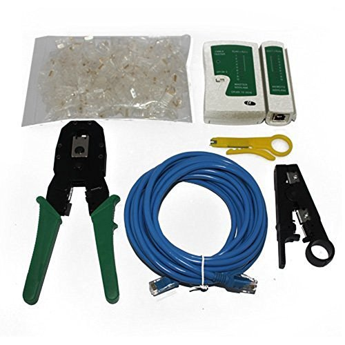 Cable Tester + Crimp crimpadora + 100RJ45CAT5CAT5E Conector Plug + 5Meter cable de red Red Juego de herramientas para