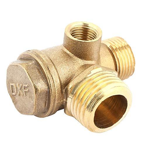 3 porte Compressore d'aria filettato maschio in ottone, connettore del tubo filettato maschio della valvola di ritegno da 0,4 * 0,6 * 0,8 pollici, valvola di riduzione della pressione