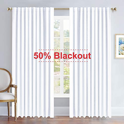 NICETOWN Living Room Curtain Drapes - (White Color) W70 x L84, Set of 2, Window Treatment Drapery Panels