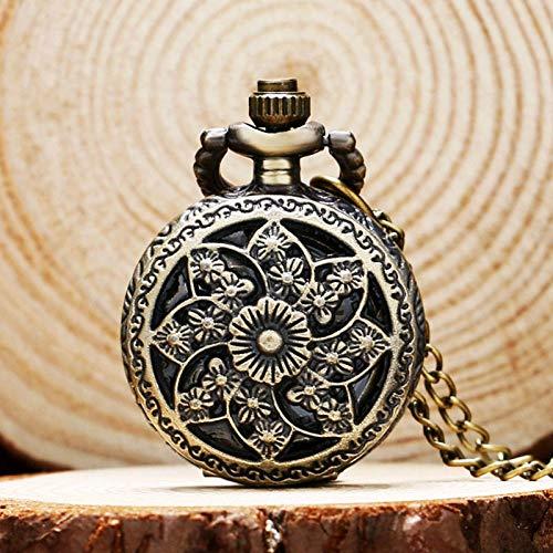 FEELHH Vintage Ketten Taschenuhr,Mode Römische Ziffern Kleine Schöne Blumen Bronze Pocket Watch Damenuhren Halsband Mit Kette