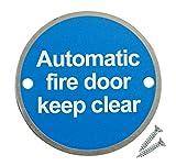 Paquete de 10 Carteles de Seguridad de Acero Inoxidable Satinado para Puerta de Incendios con Disco de 76 mm, con Texto en inglés Keep Clear