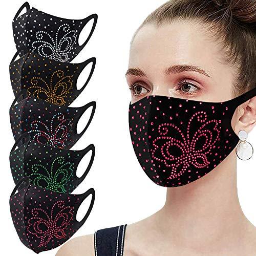 Women's Fashion Rhinestone Black Face_mask Washable ,Ice Silk Cotton 𝐌𝐀𝐒𝐊𝐒 for Coronàvịrụs Protectịon (F, 5PC)