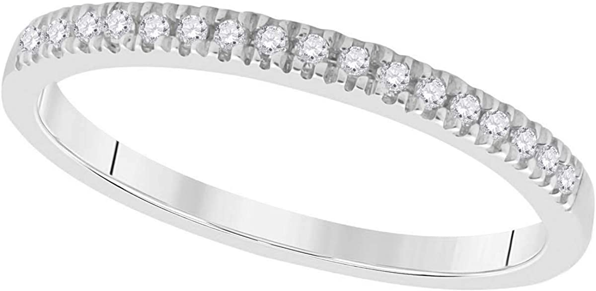 Brights Collection 0.11 Carat Lightweight/Shared Prongs/Wedding/Engagement Band In 10K White Gold