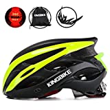KINGBIKE Adult Bike Helmet Ultralight with Bicycle Helmets Portable Bag and Safety Rear Led Light Visor for Men Women Cycling Biking