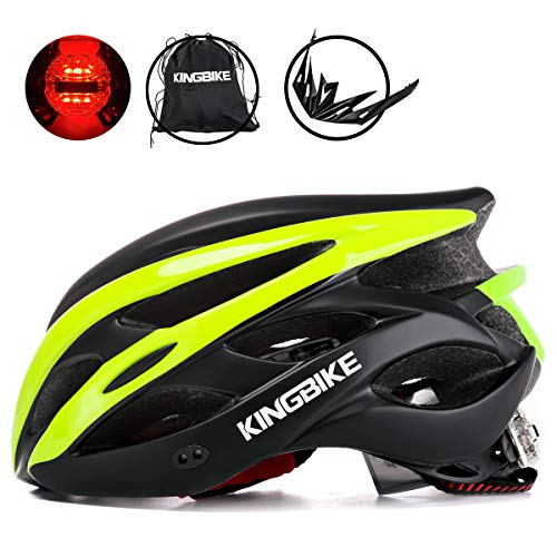 KINGBIKE Adult Bike Helmet Ultralight with Bicycle Helmets Portable Bag and Safety Rear Led Light Visor for Men Women CyclingM/L