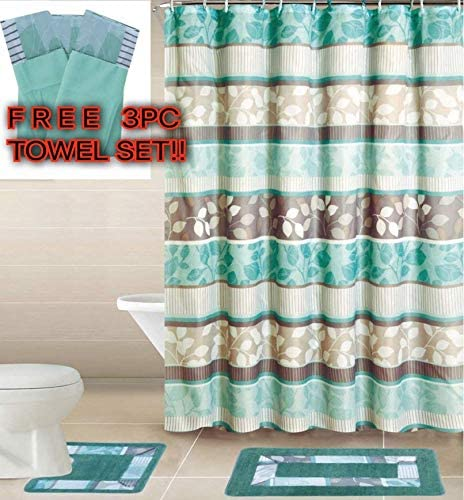 White /& Blue with Ceramic Hooks Empire Home Luxury 15-piece Bath Set