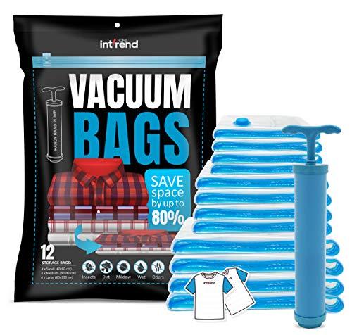 int!rend 33 XXL Vacuum Bag Set - 12 Bolsas de almacenaje al vacío Reutilizables | 3 tamaños Diferentes Incluyendo 20 blocs de Notas y Bomba de Mano | Estiba de Ropa de Cama, Almohadas, Fundas de Cama
