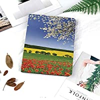 iPad air1 air2 new ipad 2018 2017 ケース 手帳型 9.7インチ兼用 iPad 5 237 カバー スリープ スタンド注文した春の風景と草原の自然画像家の装飾の花の木ビューとケシ畑