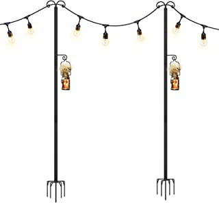 Panapo String Light Poles Outdoor, 9Ft Sturdy 5-Prong Fork Steel Outside String Light Hanging Lights Pole for Patio Holida...
