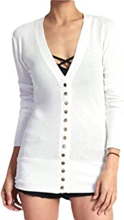 Women's Long Sleeve Cardigan Soft Cotton V-Neck Button Down Front Sweaters Knitwear