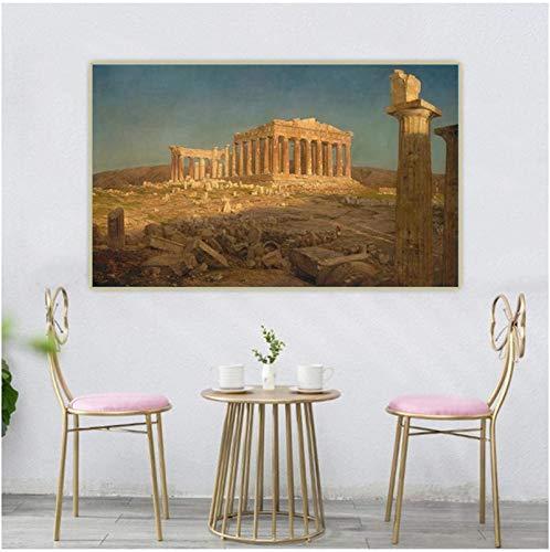 Impresión en lienzo 60x80cm Sin marco Iglesia Frederic Edwin 《Partenón Atenas》 Cuadro de reproducción de pintura Decoración de sala de estar