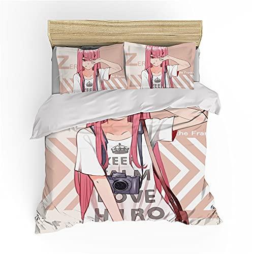 NICHIYO Darling in The FRANXX Zero Two - Juego de cama (funda nórdica y funda de almohada, microfibra, impresión digital 3D, 3 piezas, 14,SK 260 x 220 cm)