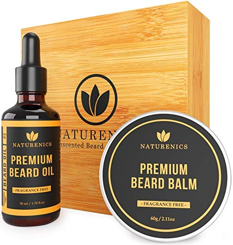 Naturenics Premium Beard Oil & Balm Wax Unscented Kit- Made with 100% Pure, Organic & Proprietary Blend of Oils- Promotes Beard/Mustache Growth for Men