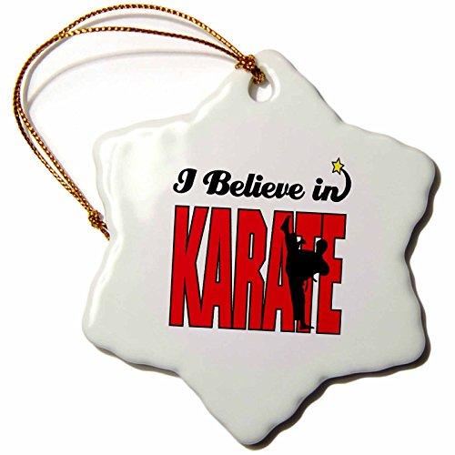 3dRose'I Believe in Karate Snowflake Ornament, Multi-Colour, 3-Inch