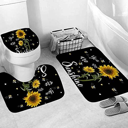 ETOPARS Sonnenblume Du bist Mein Sunshine Badteppich Set 3-teilige weiche und rutschfeste Badematte, U-förmiger Konturteppich, Toilettendeckelabdeckung
