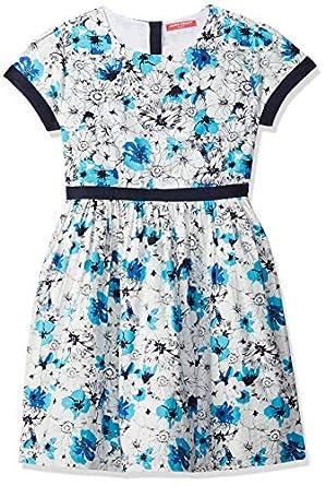 Amazon Brand - Jam & Honey Girl's Cotton Empire Knee-Length Dress
