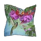 QMIN Bufanda cuadrada de seda con flores de colibrí y orquídeas de moda pañuelo ligero para el cabello diademas para el cuello y bufandas para mujer, 60 x 60 cm