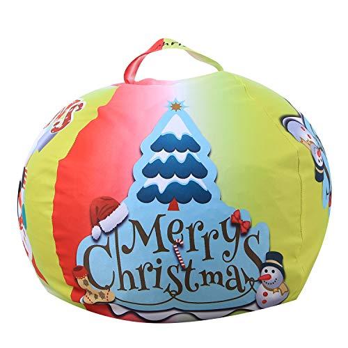 FANG Canvas clothing storage bean bag, plush toy storage bag, multi-function organizer bag (Christmas tree),18inch