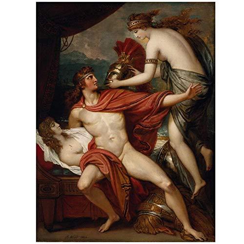 Benjamin West Thetis llevando la armadura a Aquiles arte lienzo de pared pintura impresión sala de estar decoración del hogar -20x30 pulgadas sin marco